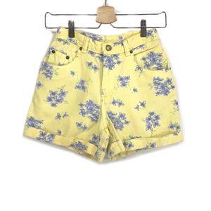 Vintage Yellow Denim Lavender Print Jean Shorts XS